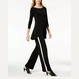 ALFANI wide leg black side stripe pants NWT Medium